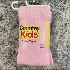 12-24 Country Kid's Cotton Dot Blend Tights Pink